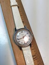 Timex Electric Ladies White Dial and Band Silver Tone Case Watch  NEEDS WORK
