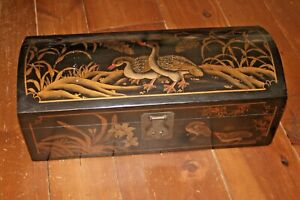 Vintage Asian Handpainted Chest Jewelry Box Lock Key Dome Lid Chinoiserie Trunk