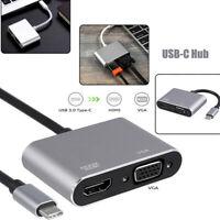 USB 3.1 Type C To VGA Multiport Adapter USB C To HDMI 4K UHD Converter Port FD