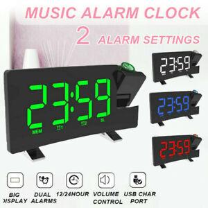 "7""LED Screen LCD Digital HD Projector Projection FM Radio Snooze Alarm Clock USB"