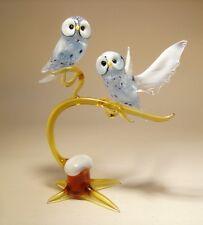 "Blown Glass ""Murano"" Art Figurine Bird White Polar OWL Birds on a Branch"