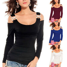 Sexy Womens Long Sleeve Off Shoulder Slim Top Halterneck T Shirt Blouse Pullover