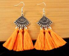 Handmade Pair of Orange Cotton Tassels Dangle Fashion Boho Earrings #1468