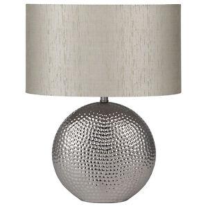 Sabina Silver Chrome Ceramic Table Lamp with Silver Taffeta Oval Shade