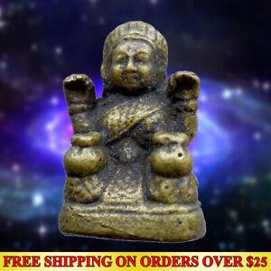 Brass Thai Amulet Fat NANG KWAK Goddess Good Trade Hunting Money Wealth Talisman