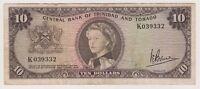 Trinidad & Tobago Banknote 10 Dollar $ 1964 P28c Rare Bruce Queen Elizabeth