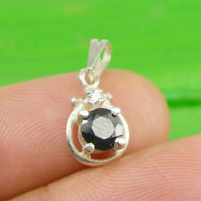 Round 5mm Natural Sapphire Gemstone Pendant Genuine 925 Sterling Silver - P123
