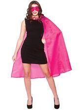 Adult 100cm Superhero Hot Pink Cape & Eye Mask Fancy Dress Halloween World Book