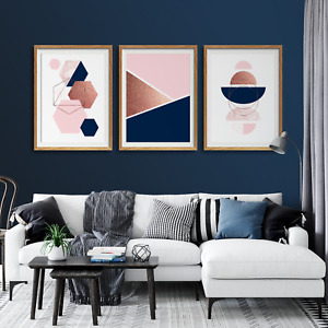 3pc Navy and Pink Wall art,navy and pink prints,navy pink decor,living room art