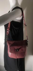 Coach Purple Leather Turn Lock Sling Crossbody Shoulder Bag EUC