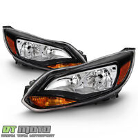 2012-2014 Ford Focus Black Headlights Headlamps Replacement 12-14 Left+Right Set
