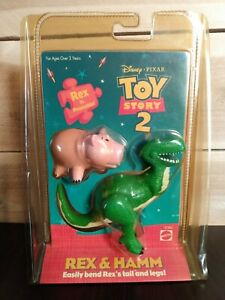 Mattel Disney Pixar Toy Story 2 Poseable Rex and Hamm Action Figures NEW