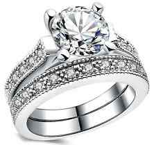 (JW001.1) Cubic Zirconia Bridal Set of Rings for Women - Silver Plated - Size M
