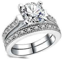 (JW001.2) Circonita nupcial conjunto de anillos para mujer-plateado Tamaño o
