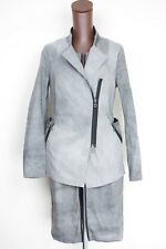 Sarah Pasini Womens Dress Jacket Suit Set 1 Gray Dip Dye Full Zip Linen Blend