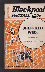 Sheffield Wednesday At Blackpool FC August 28 1971 Soccer Program Football