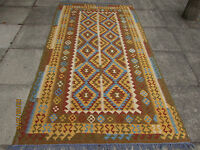 Kilim Traditional Hand Made Afghan Oriental Large Kilim Yellow Wool 258x148cm