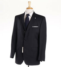 NWT $1375 LUIGI BIANCHI Black-Gray Stripe Wool Suit Classic-Fit 40 R (Eu 50)