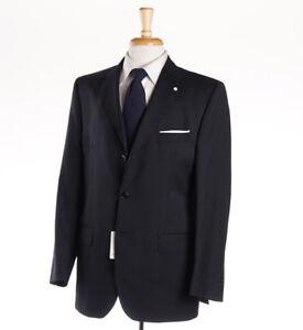 NWT $1375 LUIGI BIANCHI Black-Gray Stripe Wool Suit Classic-Fit 40 R (Eu 50)