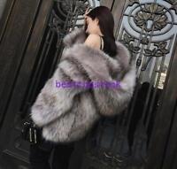 Womens Hooded Jacket Parka Warm Real Fox Fur Winter Coat Warm Outwear Jackets sz