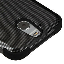 HTC BOLT 10 EVO CARBON FIBER DESIGN TUFF SHOCKPROOF CASE HYBRID IMPACT COVER