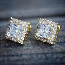 Gold Square Princess Cut Solitaire Stud Earrings