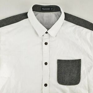 Rock Revival Men's Long Sleeve Casual Shirts White Elbow Patches Size XXL SH112
