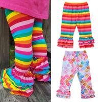 US Kids Baby Girl Princess Rainbow Mermaid Ruffle Bottom Pants Leggings Trousers