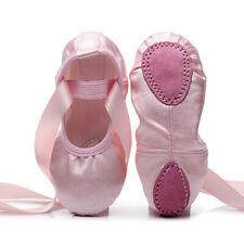 Children Pink Split Sole Ballet Dance Shoes Pointe Slipper Red Satin Girls Women