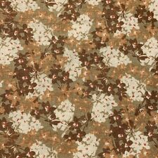 "Fabric David Textiles 1 Yard X 44"" Floral Brown Red Sewing Cotton Quilting #3u75"