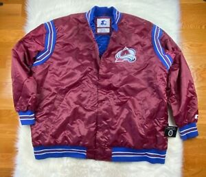 NHL Colorado Avalanche Starter Big Man Jacket Satin Snap Up Maroon, Men's 6XL