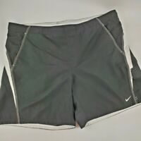 Nike Mens Size XL black with white accent swim trunks with flat front drawstring