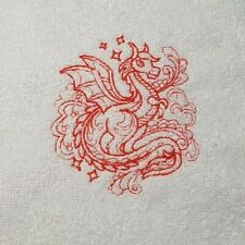 Embroidered 100% Egyptian Cotton Face Cloth / Flannel -  White With RED Dragon