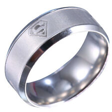 Men&Women Superman Stainless Steel Titanium Band Ring Wedding Engagement Size 12