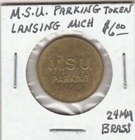 (W)  Token - Michigan State University Parking Token - 24 MM Brass
