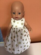 "New 17"" XMAS HANDMADE  DOLLS CLOTHES GOLD PRESENTDRESS WILL FIT BABYBORN/ANABELL"