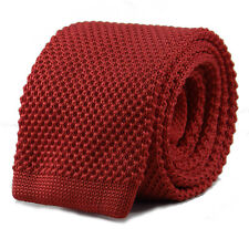 New Luxury Mens Plain Dark Red Woven Tie Necktie Solid Knitted Skinny Solid