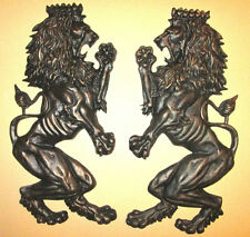 TWO, X-Large, Britannic, Lion Wall Plaques, Metal, Decor, Old World Medieval New