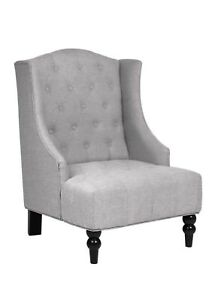 Wingback Tall Accent Chair Tufted Upholstered Gray