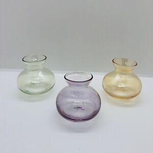 """Flower Bulb Forcing Starter Vases Glass Lavender Yellow Green (3) Fat Bottom 2"""""""