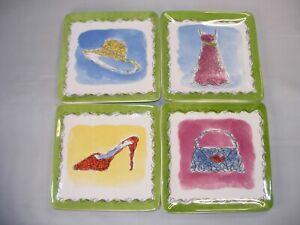 "Set of Four ""Apparel"" Plates for Salad, Snacks, Desserts...Conversations Pieces"