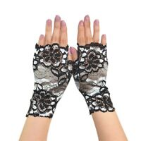 New Women Lace Wedding Gloves Wrist Length Mittens Girls Floral Pattern Gloves