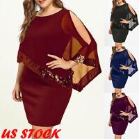 US Plus Size Women Bodycon Shawl Summer Evening Party Formal Ball Short Dress
