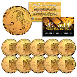 2000 New Hampshire State Quarters US Mint BU Coins 24K GOLD PLATED (LOT of 10)