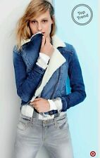 New Mossimo Faux Fur Denim Jean Jacket Asymmetrical Zip Coat Womens Juniors M