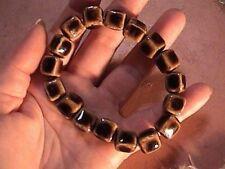 "brown ceramic bead bracelet 8-9"" handmade on stretchy elastic"
