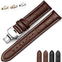 16-24 mm Leather Watch Band Strap Butterfly Clasp Buckle Watch Belt Bracelet