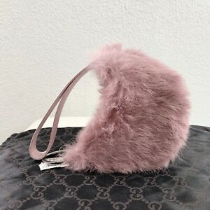 NEW NWT Vintage GUCCI GG Pink Lilac Rabbit Fur Satin Purse Clutch DUSTBAG