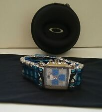 New OAKLEY MINUTE MACHINE TIME TANK POLISHED Titanium Band BLUE Face Watch RARE!