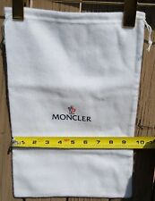 "NEW Moncler White 100% Cotton/Flannel Drawstring Dust Bag - 14"" x 9.5"""
